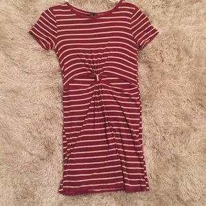 Striped dress with tie knot in the middle!